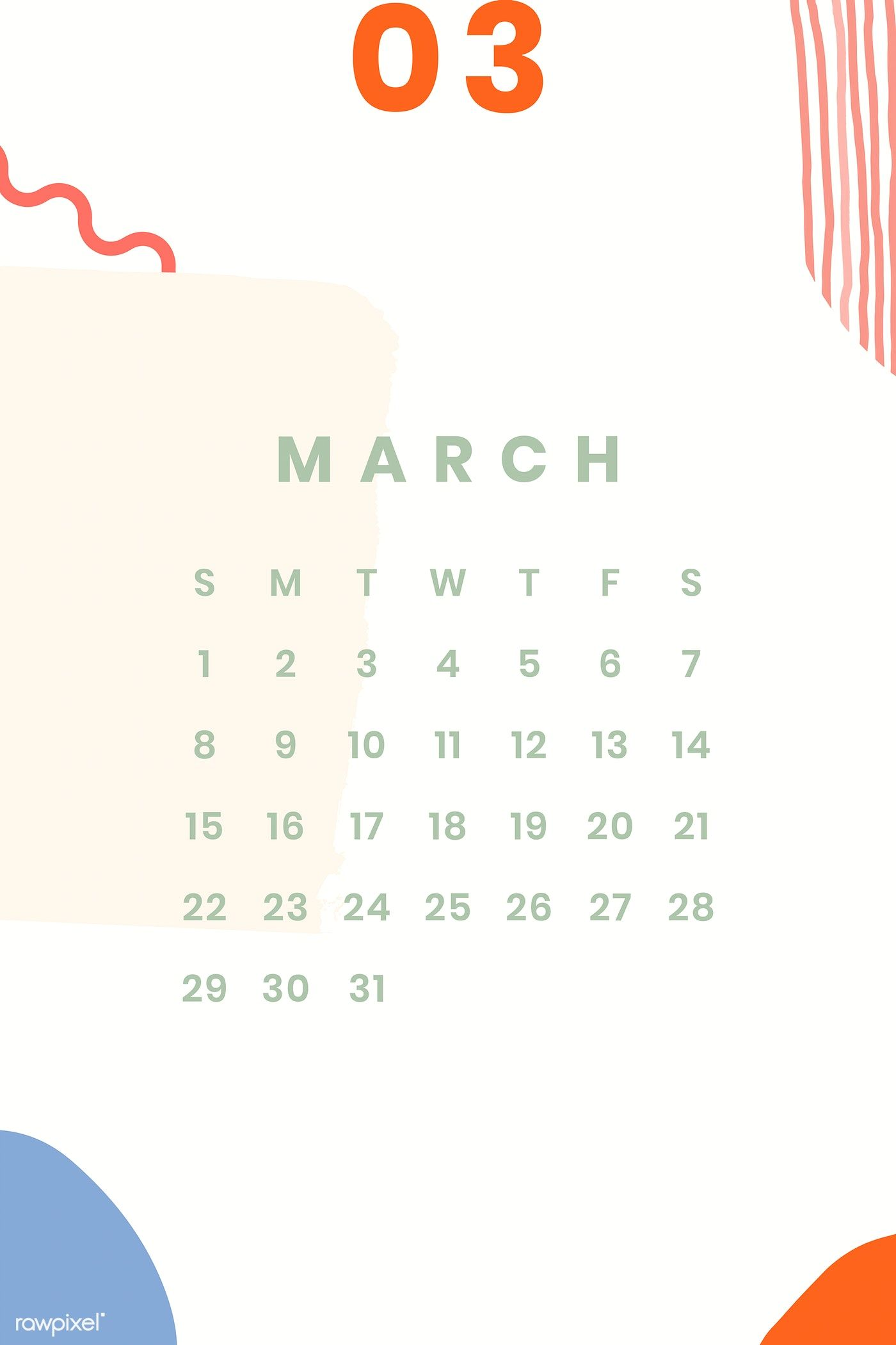 Download Premium Vector Of Colorful March Calendar 2020 Vector
