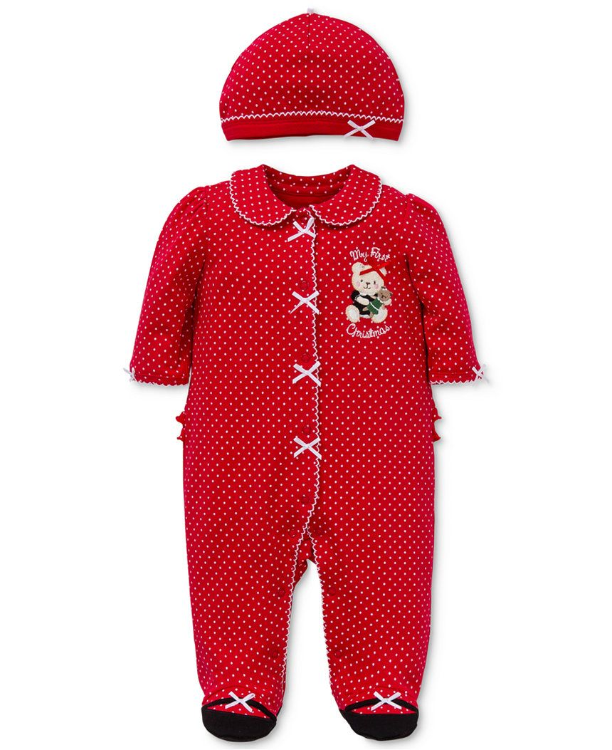 f1f18a5f4 Little Me Baby Girl Holiday Bear Footed Pajama   Hat Set - Baby Girl ...