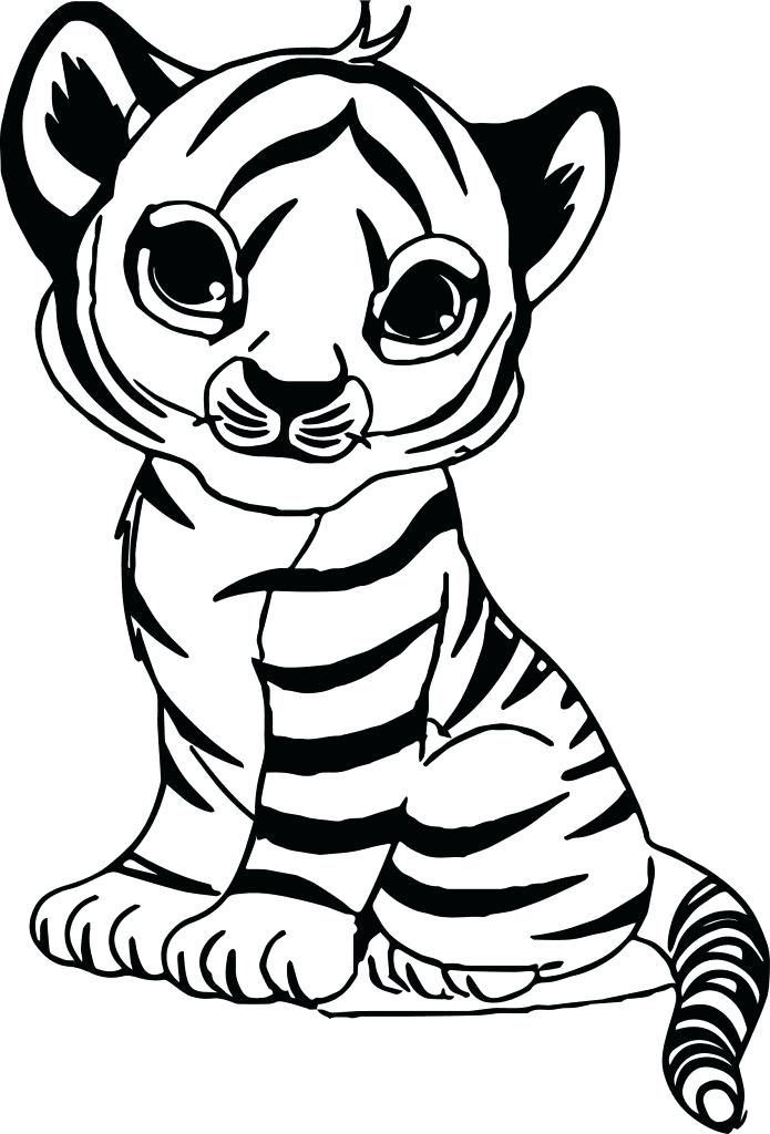 Coloring Pages Of Cute Tigers Tiger Color Sheet With Baby ...