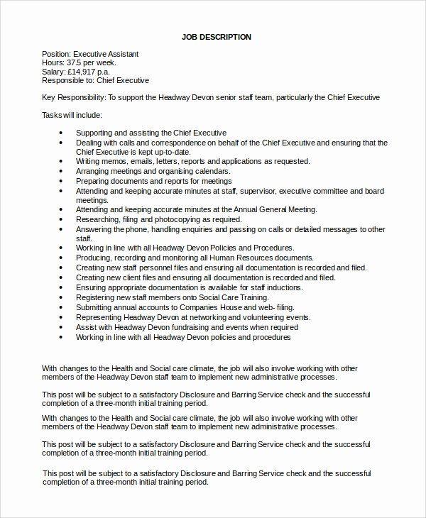 23 Personal Assistant Job Description Resume In 2020