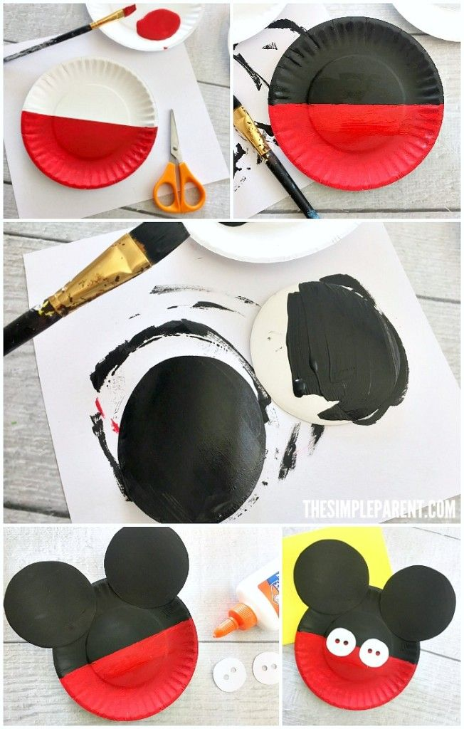 Learn how to make a Mickey Mouse Paper Plate Craft with your kids!  sc 1 st  Pinterest & Learn how to make a Mickey Mouse Paper Plate Craft with your kids ...