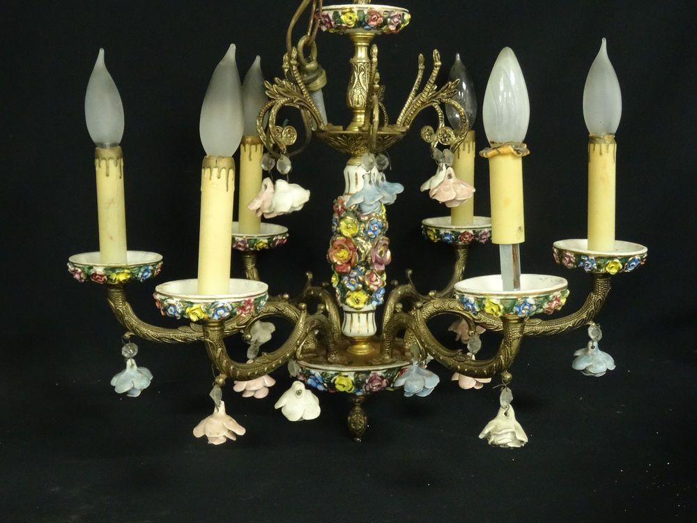 Magnificent Antique Italian Porcelain Gilt Bronze 6 Arm Chandelier Chandeliers And