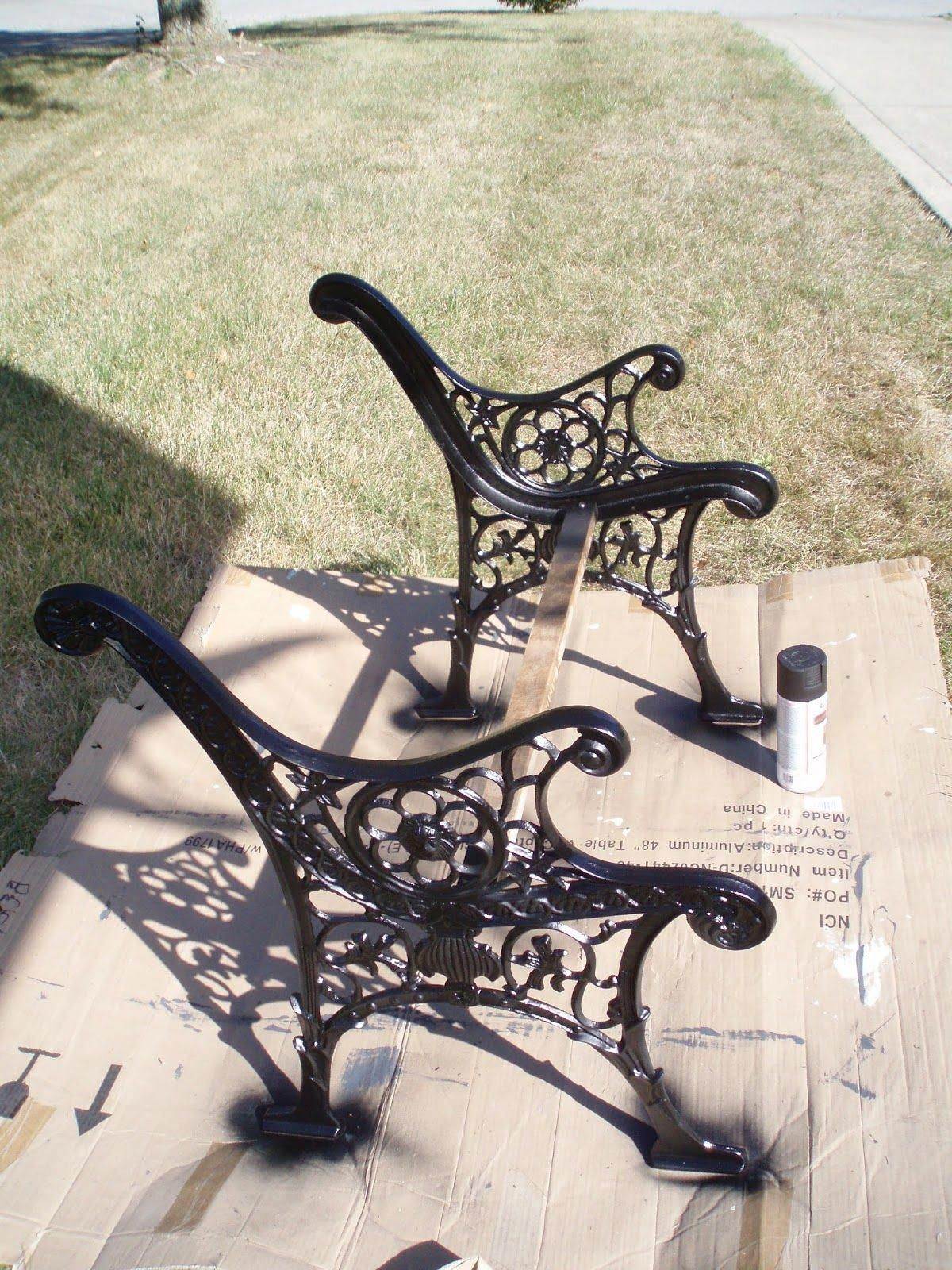 Vintage Childs Outdoor Bench Wrought Iron And Wood Oakland