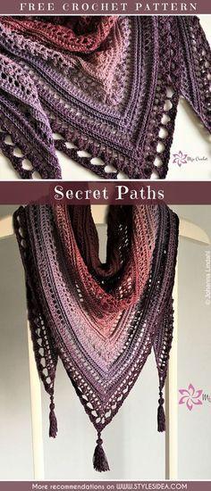Secret Paths Shawl Crochet Free Pattern Crochetscarf