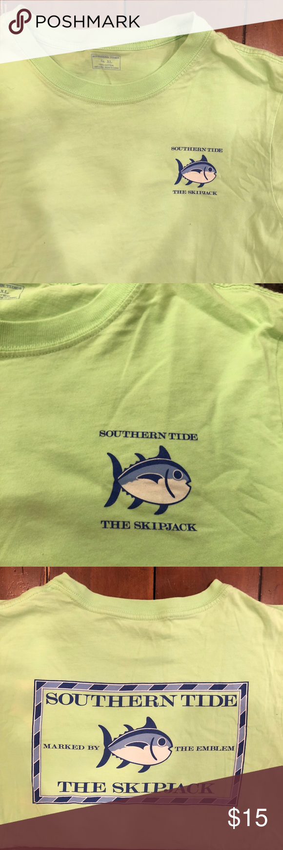 Southern Tide T Shirt Lime Green And Super Soft 100 Cotton Not That Stiff T Shirt Material It Has A Logo The Corn Southern Tide T Shirt Southern Tide Tshirt