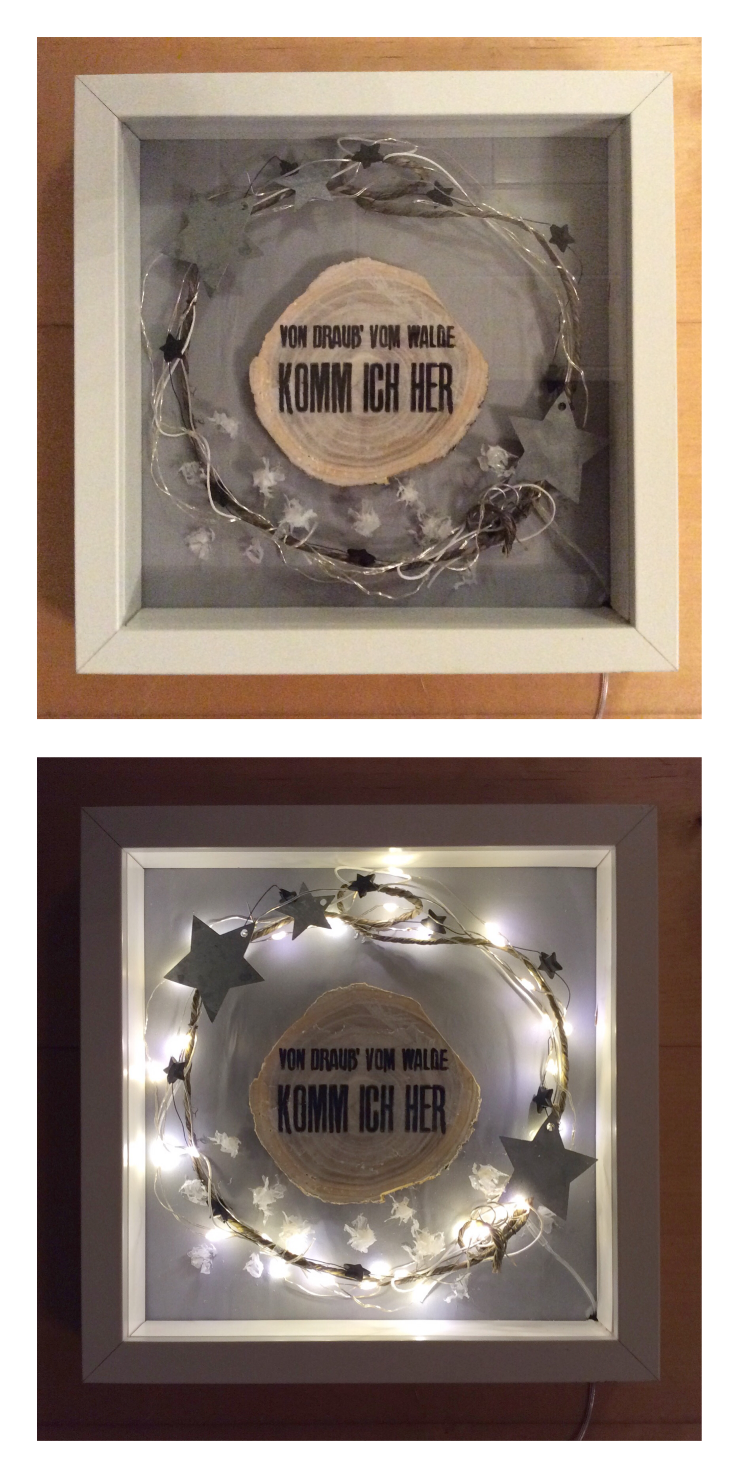 Ikea RIBBA Rahmen, LED-Lichterkette und ein paar Schnüre u Sterne ...