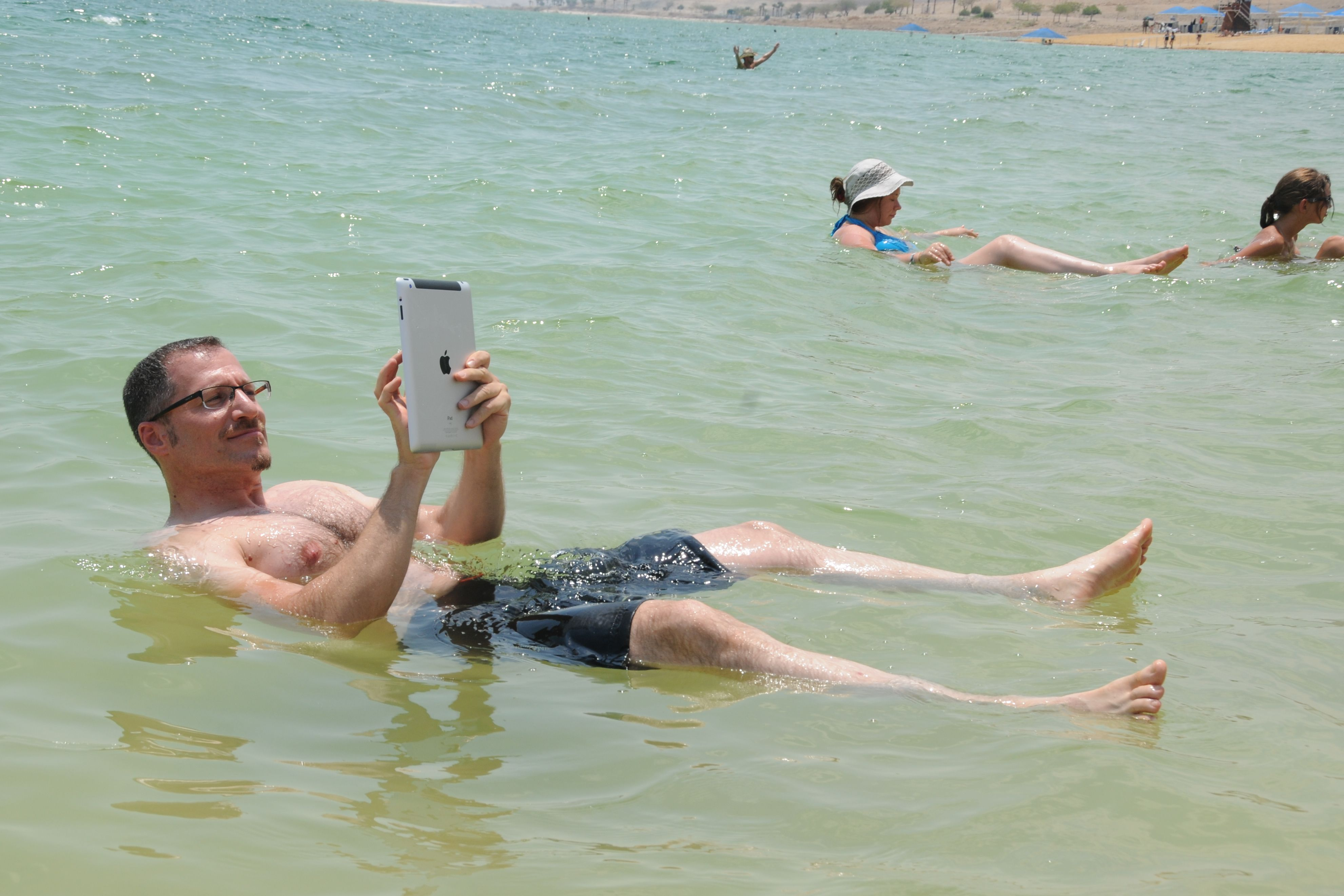 Surfing at the dead sea.