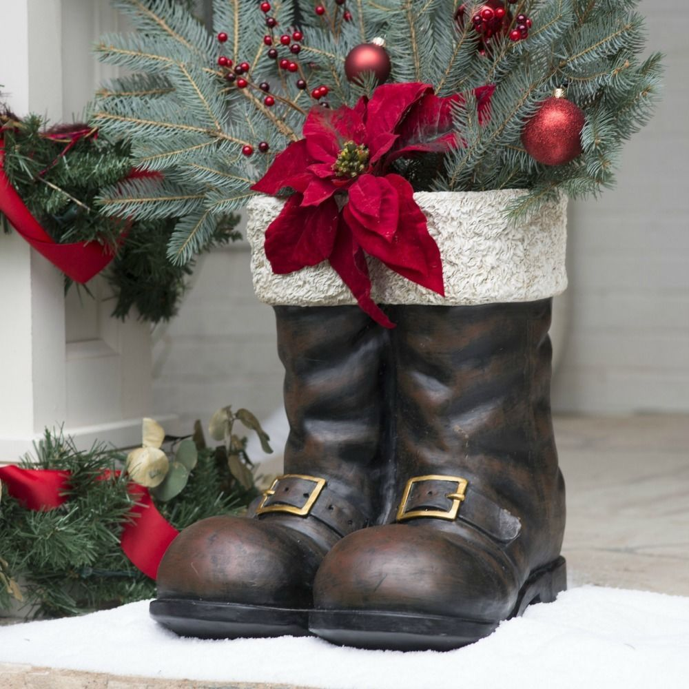 Christmas Decoration Holiday Decor Santa Claus Boots Planter Large Front Porch Ebay Christmas Front Porch Christmas Decorations Santa Boots