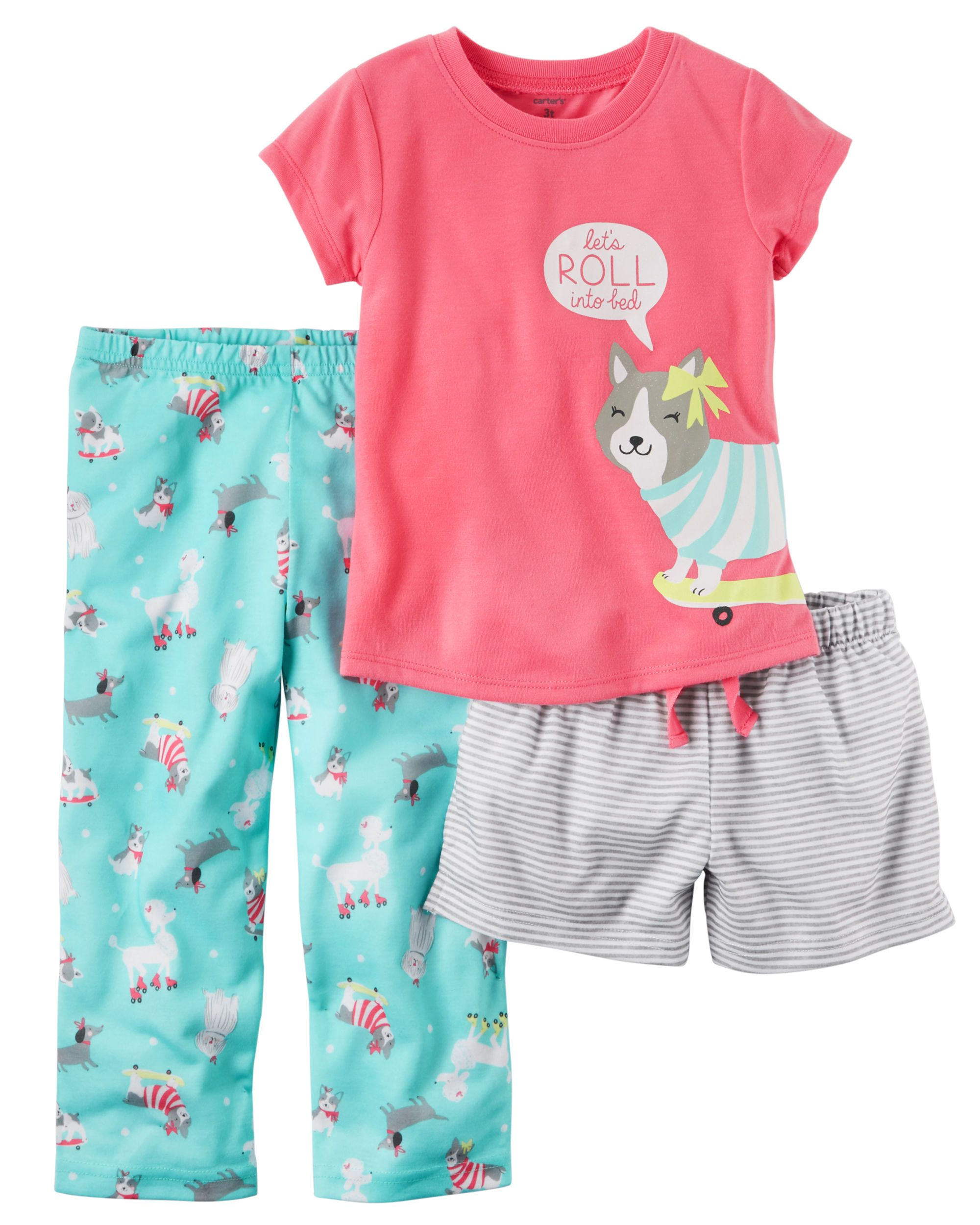c10d71e4f7 Baby Girl 3-Piece Jersey PJs In coordinating prints
