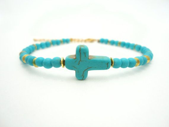 Turquoise Cross Bracelet Friendship Bracelet Beaded by laromantica, $29.99