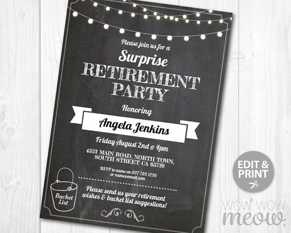 Retirement Invitation Bucket List Retired Invite By Wowwowmeow
