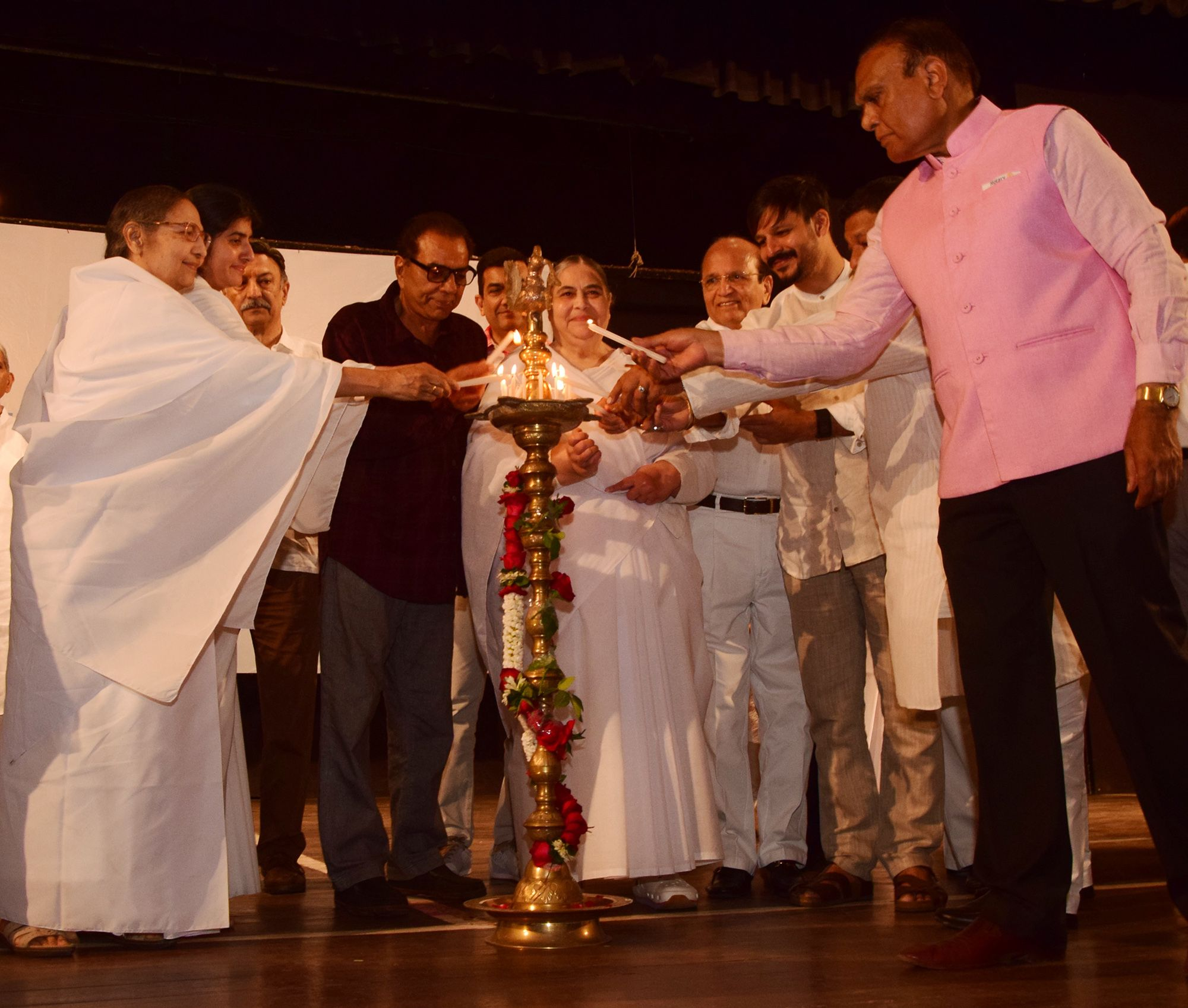 The lamp lighting ceremony at a spiritual talk by Brahma Kumari ... for Lamp Lighting Ceremony  54lyp