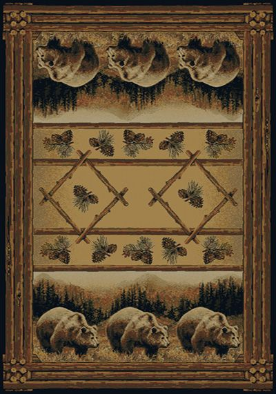 Hautman Brothers Grizzly Pines Brown Bears Area Rugs By United Weavers Bear Area Rug Area Rugs Oversized Rugs