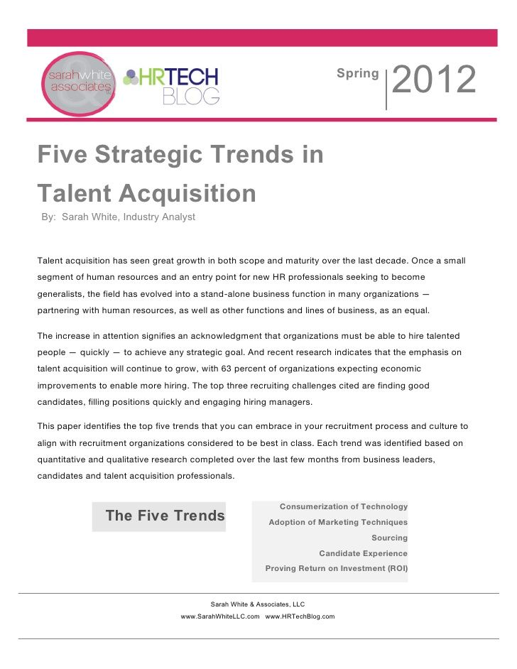 5 Strategic Trends in Talent Acquisition for 2012, 2013 and beyond by @ImSoSarah