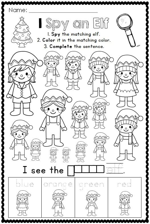 I Spy Christmas Printables Colors And Vocabulary A Differentiated Activity Christmas Kindergarten Christmas Classroom Christmas Coloring Pages