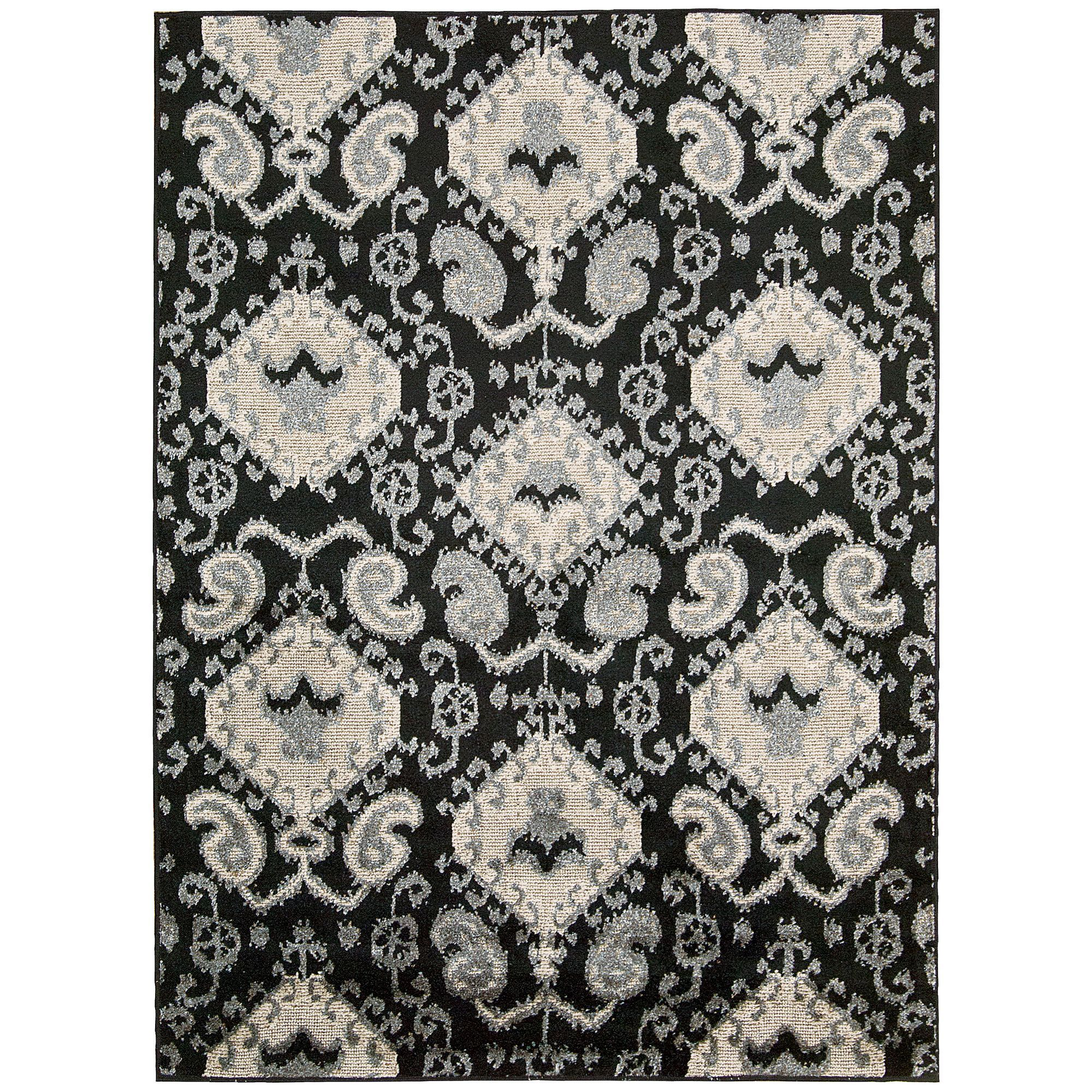 kindred ikat print black area rug (' x ') by nourison  ikat  - kindred ikat print black area rug (' x ') by nourison