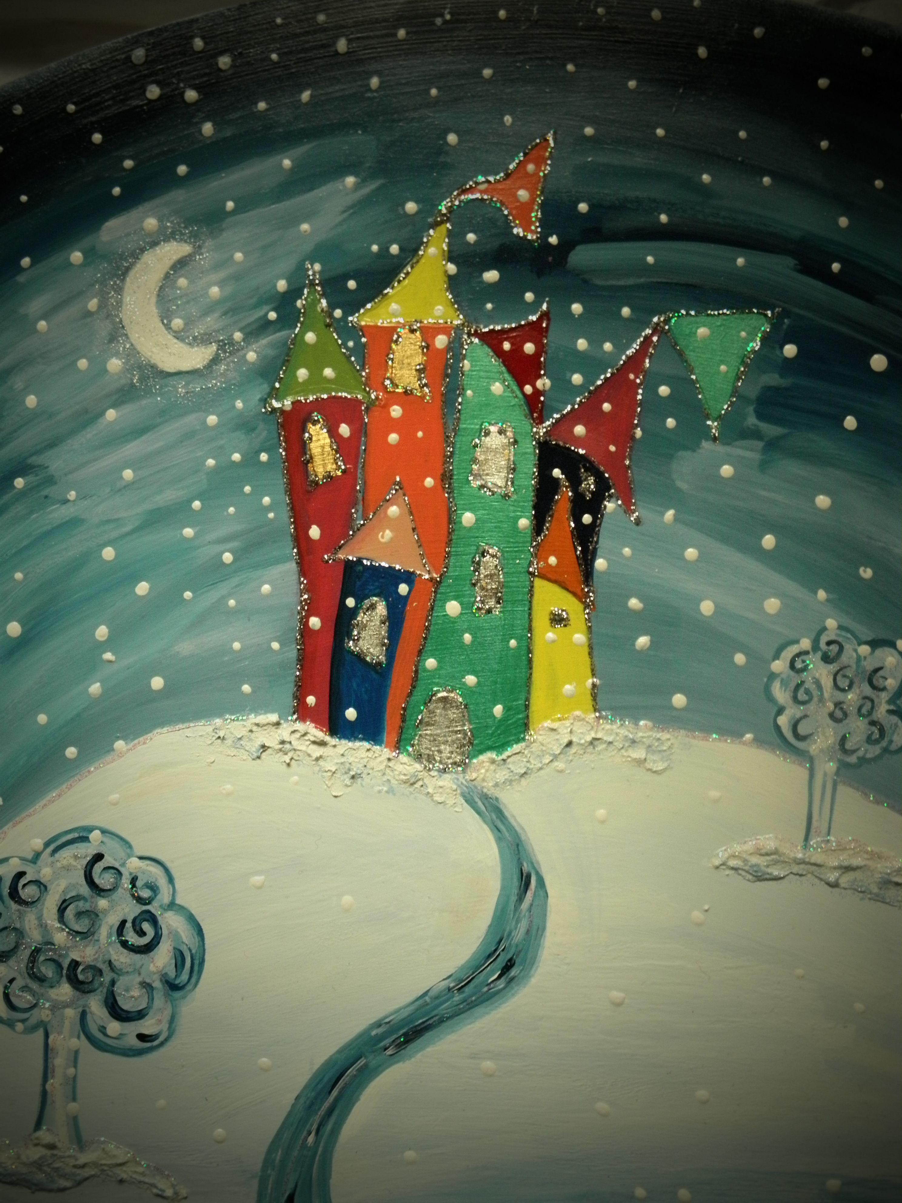 Un mio quadro naif:la luna sul castello