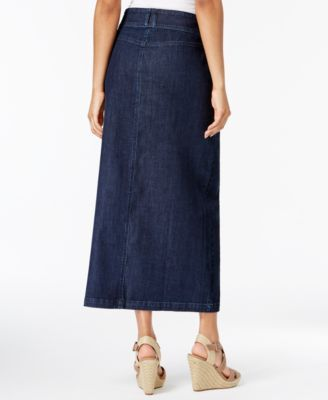 99a3e3c39276 Style   Co Button-Front Midi Denim Skirt