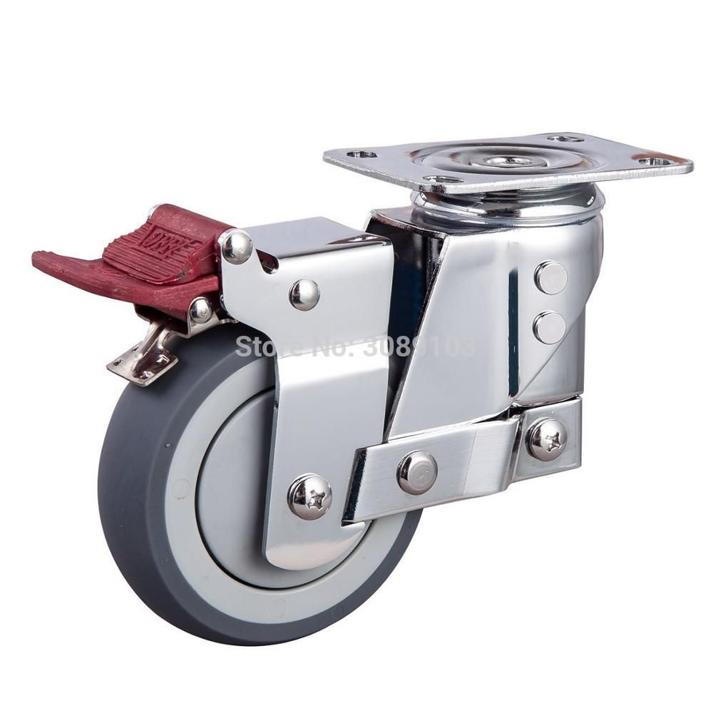 New Style 5 Inch Medium Duty Brake Swivel 125mm Tpr On Pp Shock Absorber Castor Wheel With Brake Furniture Hardware Hardware Castors Wheels