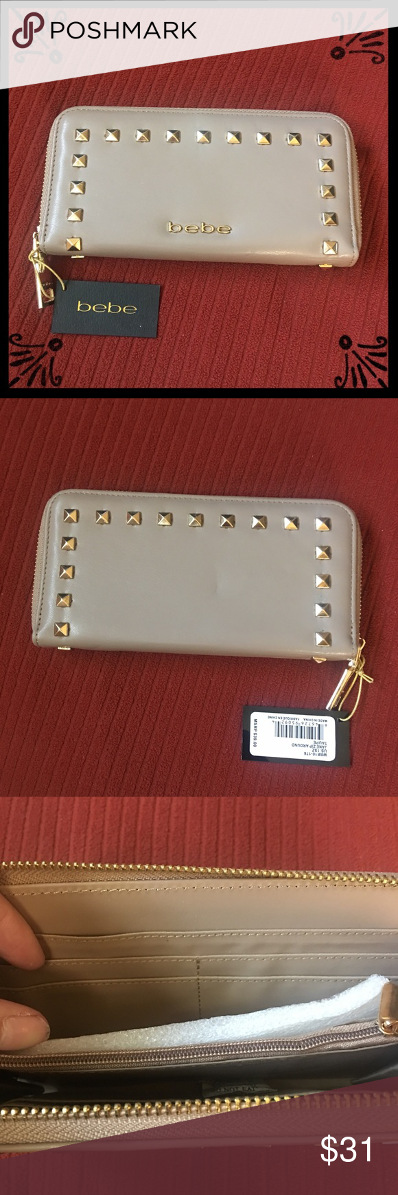 9de85a45d8 Bebe Taupe Wallet w Gold Studs ▫ brand new with tags ▫ bebe jane zip around  in taupe w gold studs ▫ 8 card holders, 2 long pockets, ...