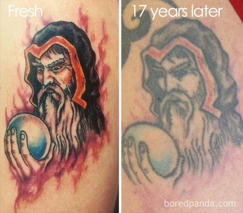 How Tattoos Look Like After 15 Years Faded Tattoo Picture