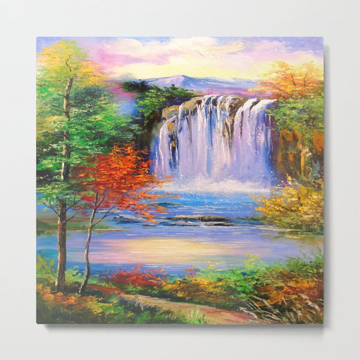 Mountain Waterfall Metal Art Print by Olhadarchuk