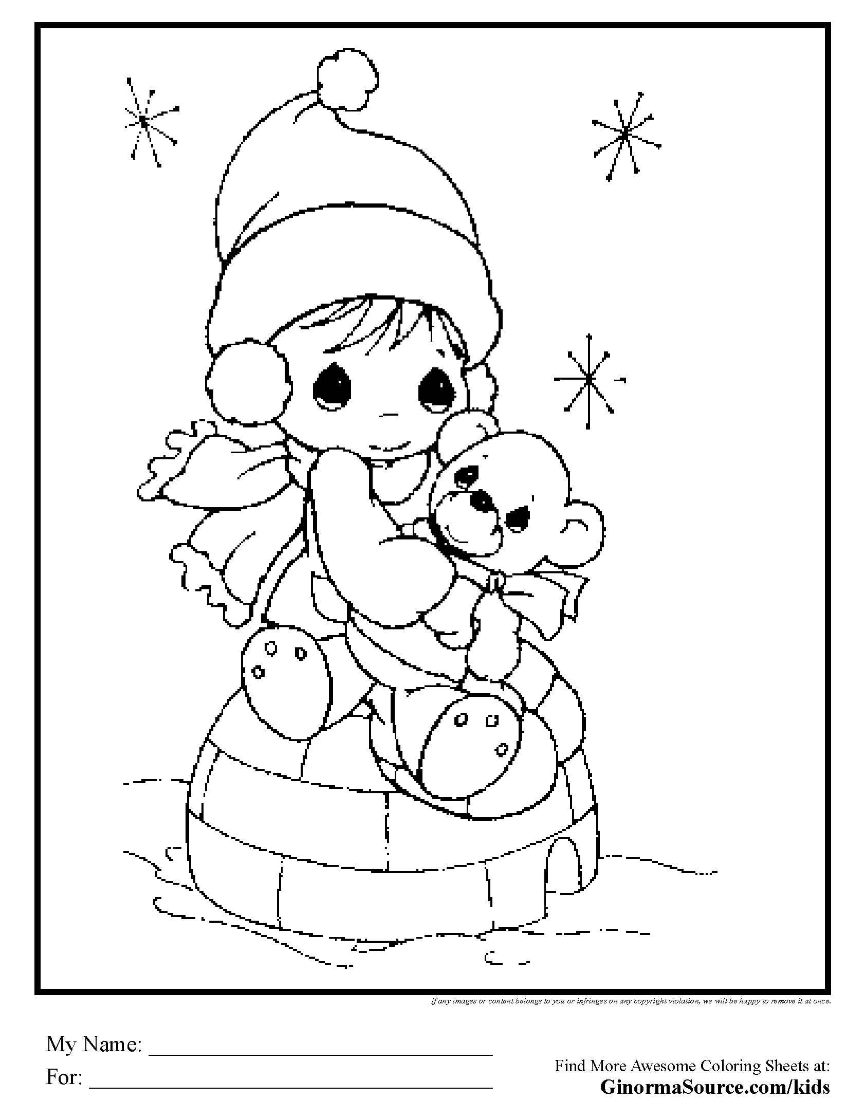 Coloring Pages Precious Moments Teddy Bear And Igloo