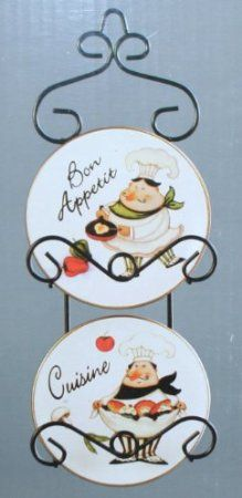 Fat Italian Chef Plates And Wall Hanger