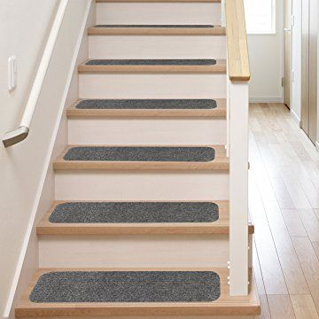 13 Stair Treads Non Slip Carpet Pads Easy Tape Installation Rubber Backing Safe For Wood Steps Indoor Vinyl Flooring Safety Grip Rug Set With