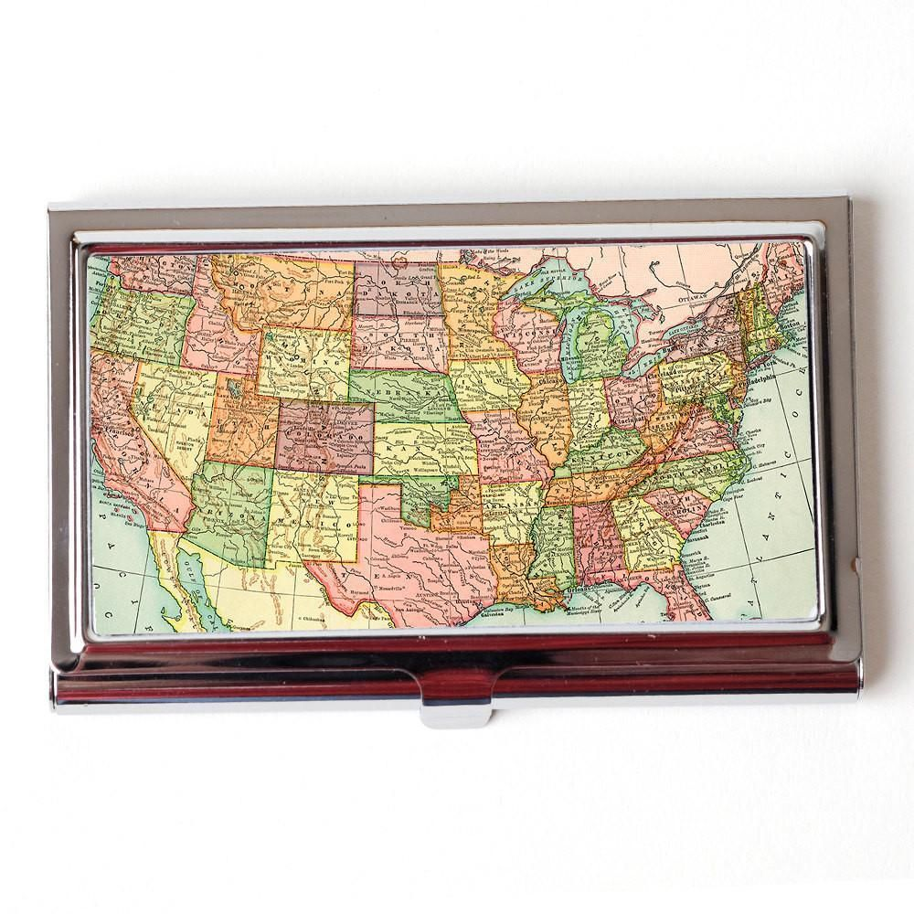 Vintage US Map Business Card Case - American Wall Map Business Card ...