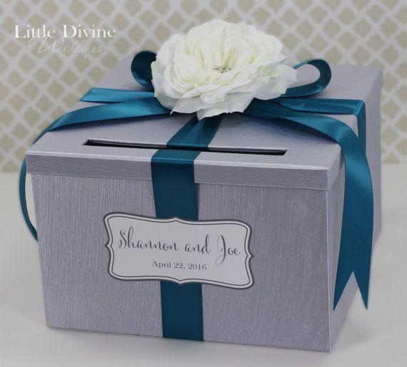 Wedding Card Box Silver Teal Ribbon Card Holder By LittleDivine