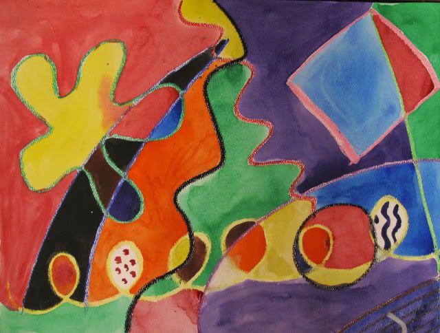 Kandinsky inspired art project with oil pastels & watercolors