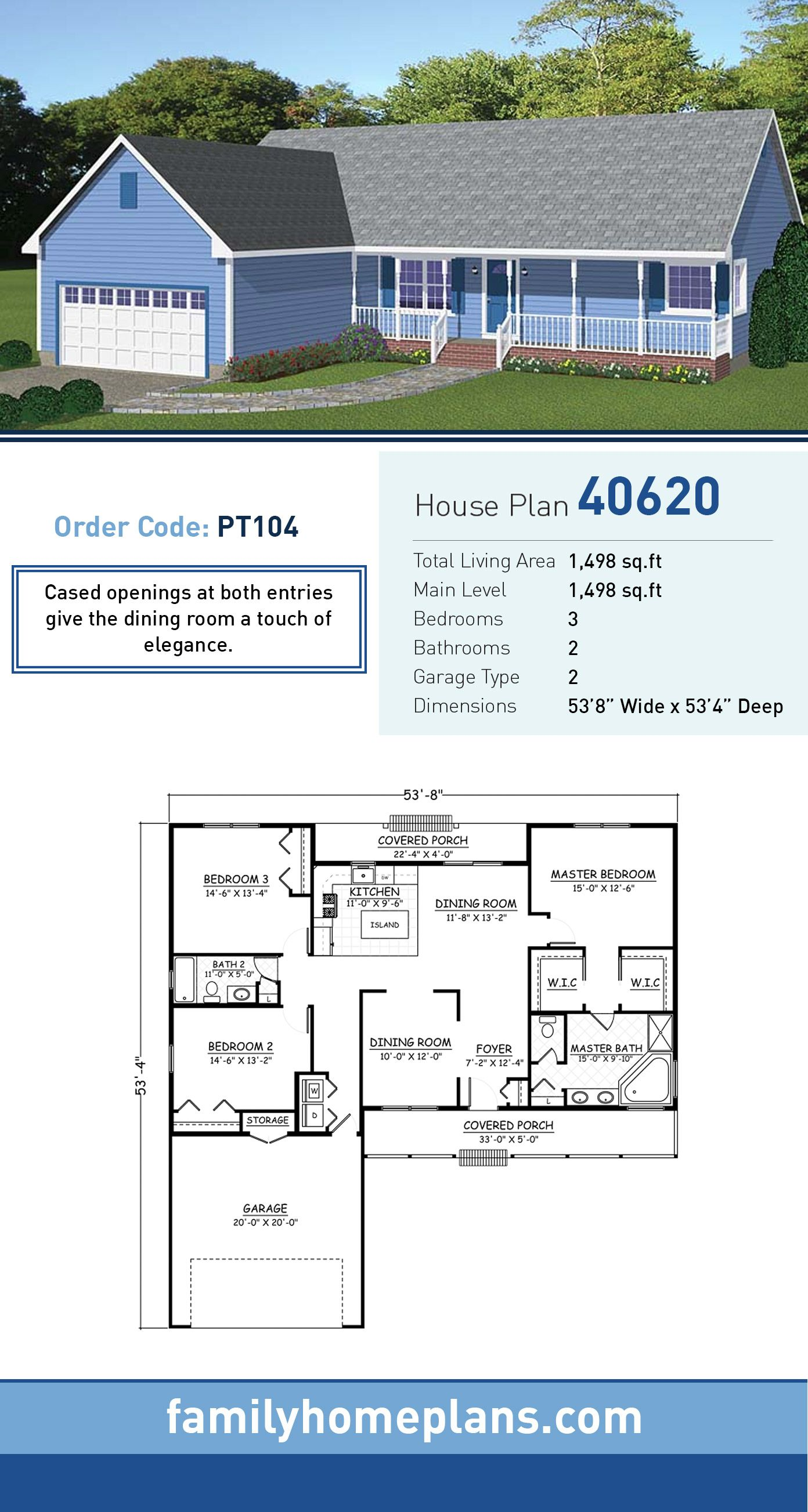Ranch Style House Plan 40620 With 3 Bed 2 Bath 2 Car Garage House Plans Ranch Style House Plans Ranch House Plan