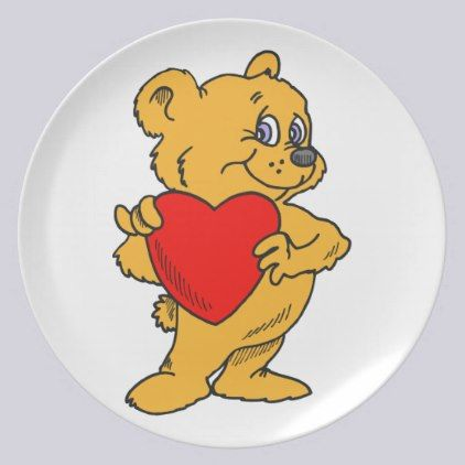 Cute Valentine Bear Dinner Plates for Valentine's Day by Graphic Allusions. #valentine #cute