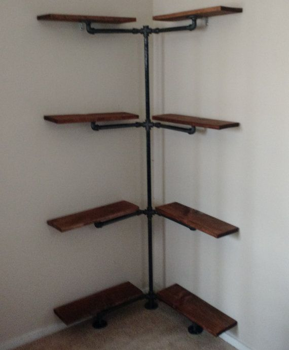 Industrial Iron Pipe Corner Shelf By EngravingEclectic On