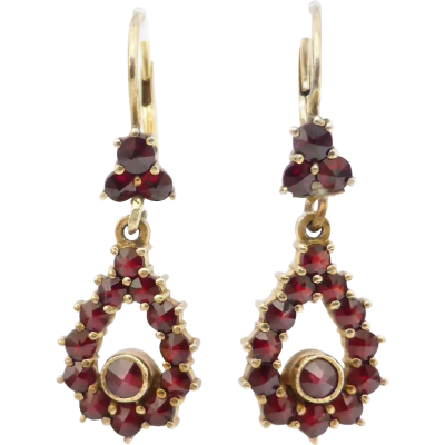 A lovey pair of vintage bohemian garnet earrings hand crafted in 830 silver with a charming gold wash or 'gilt silver' as it's also named.