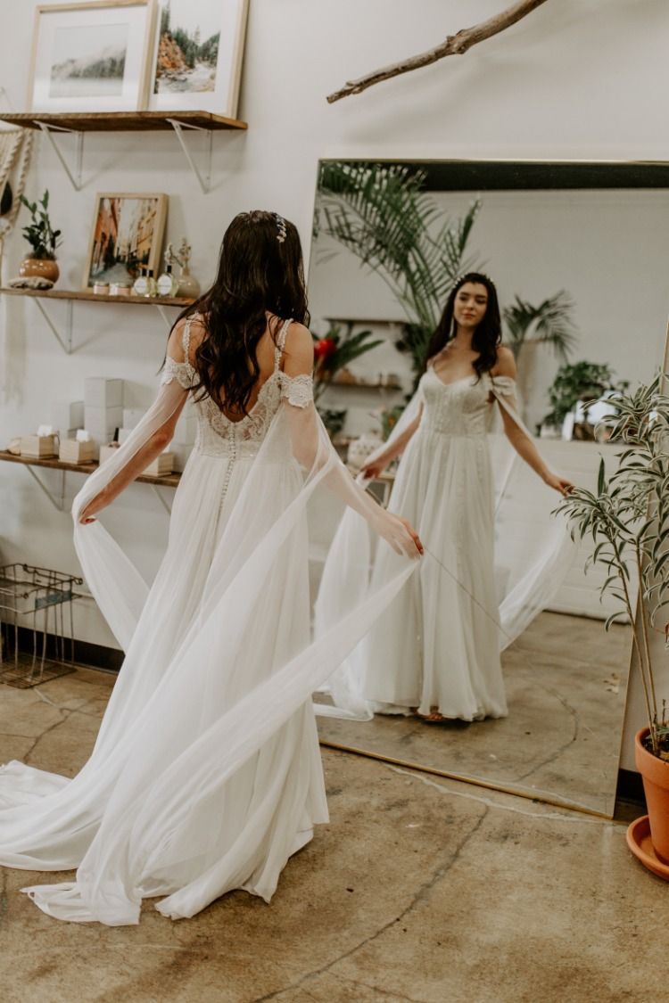 Mila The Romantic Whimsical Wedding Dress Off The Shoulder Lace And Silk Chiffon Sleeves Elven Wedding Dress Wedding Dresses Whimsical Fairy Wedding Dress