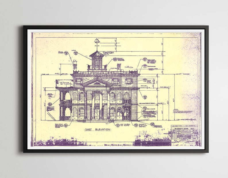 "Haunted Mansion Blueprint POSTER up to full size 24"" x 36"" 1962 Disneyland Haunted House Theme Park Patents Doombuggy Gifts"