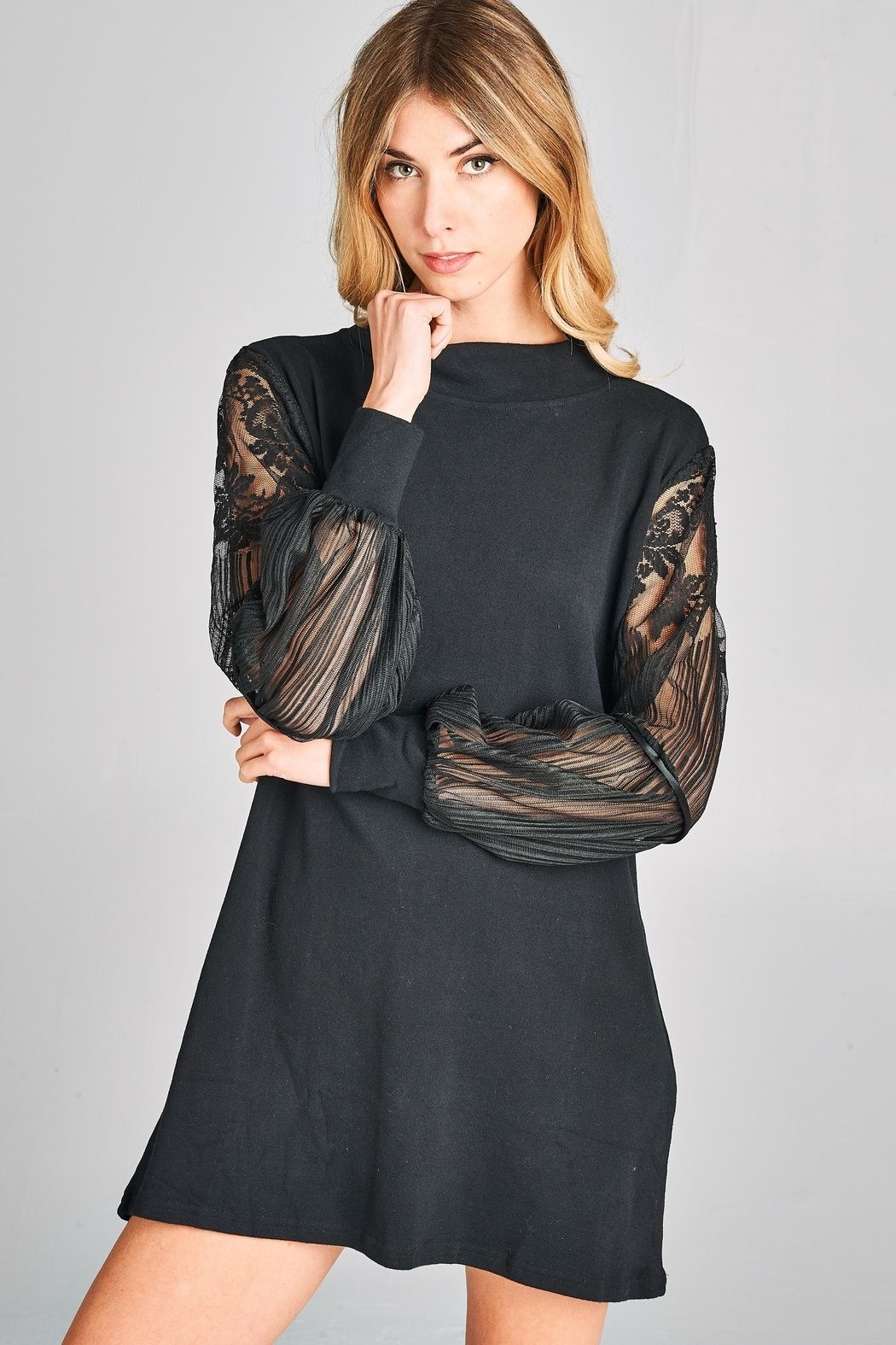 5066aed9155 Knit cuff sleeve detailing. Lace-Sleeve Cotton Dress by Racine. Clothing -  Dresses - LBD California