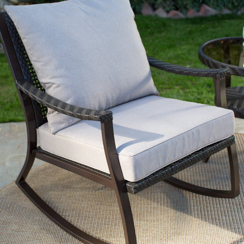 All weather wicker outdoor patio porch rocking chair rocking