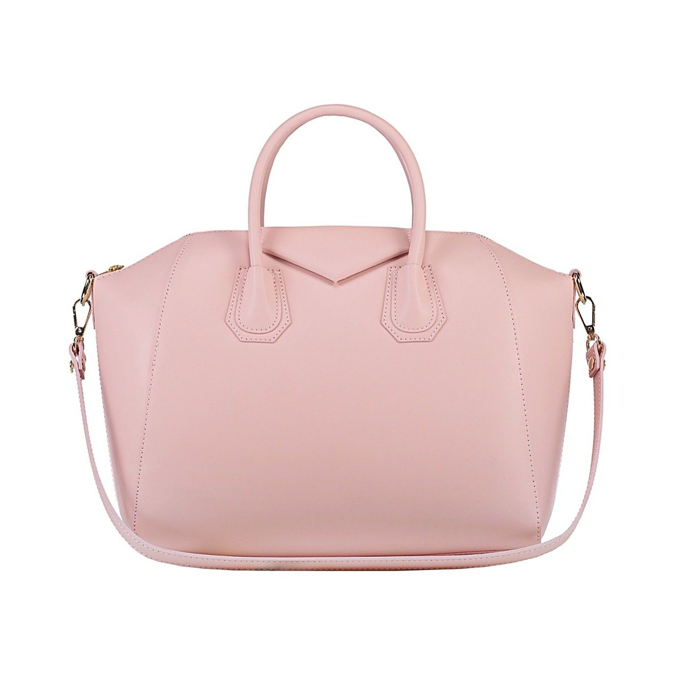 "Pretty blush pink bag. Obviously a bit ""inspired"" by a certain Givenchy bag. This is my bag for spring. It's so cute and fits everything I need for work!"