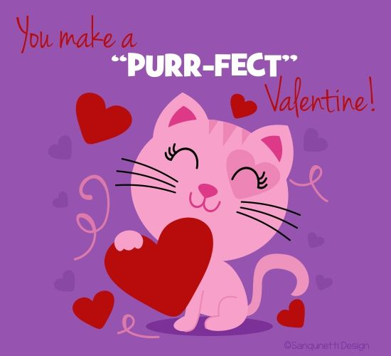 Make it a purr-fect #ValentinesDay for your purr-fect one with this cute #valentinesdaycard. #valentinesdaycard #HappyValentinesday #Valentinesday #Vday #free #cards #greeting #wishes.