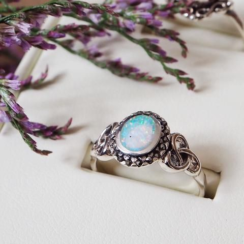Angel Kisses - Faux Opal & Marcasite Sterling Silver Ring