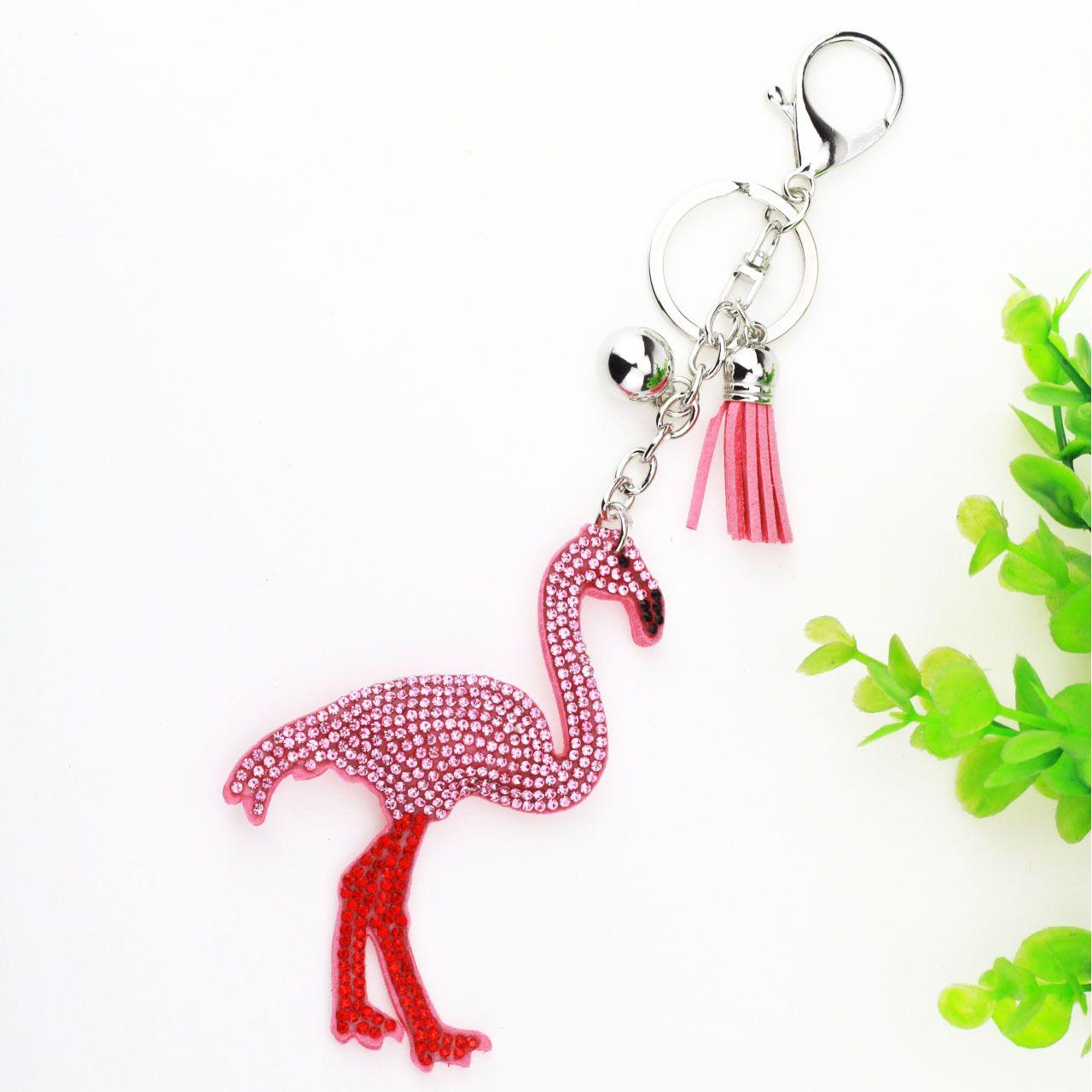Novel Key Rings Pendants Gifts  Luggage   Bags Accessories Carro Keychains  Phone Flamingo Diamond Women ffe66c9a0