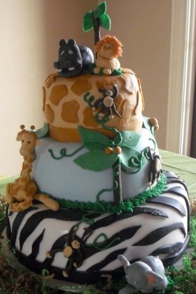 Jungle or Zoo Birthday Cake Cakes Pinterest Zoo birthday cake