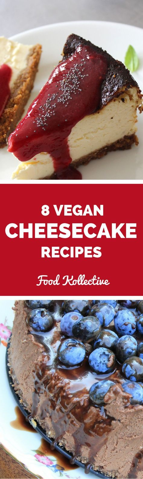 I was researching vegan gluten free cheesecake recipes and these look to die for! There are recipes for strawberry cheesecake, Snickers cheesecake, pumpkin cheesecake, peanut butter cup cheesecake, and more. These gluten free cheesecake and vegan cheesecake recipes would be super fun for a party! Collected on http://FoodKollective.com