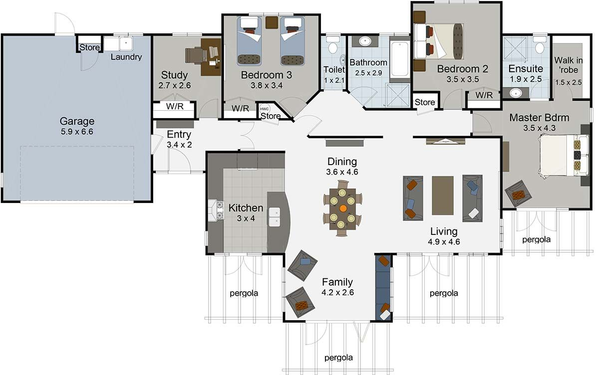 Monte Carlo 5 bedroom house plans, House plans, Bedroom