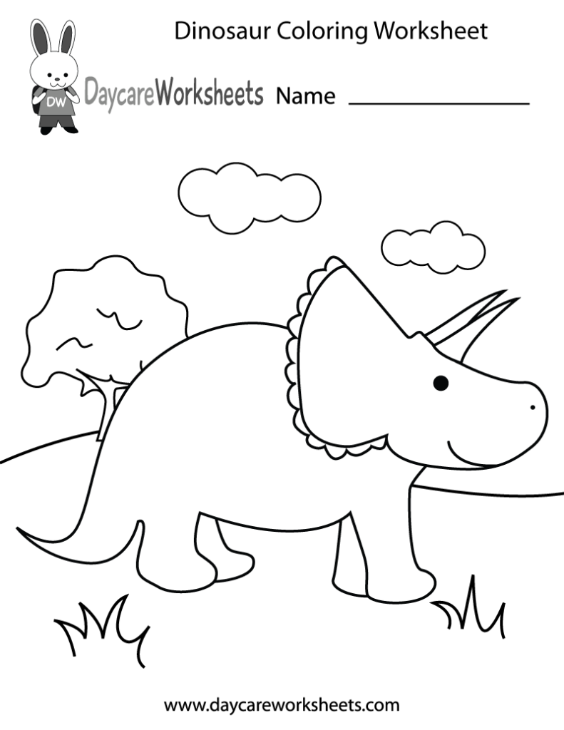 coloring pages free printable dinosaur coloring worksheet for ...