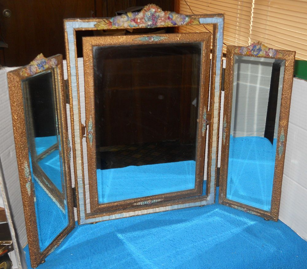 Vintage 3 Tri Fold Barbola MIrror~Vanity Set~Ribbon Frame~Flower Top~