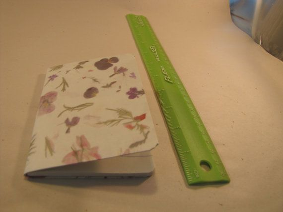 Mini notebook decorated with purple floral design, 3.25 x 4.5 inches